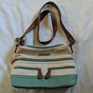 Leather Stone Mountain purse cream/green/brown